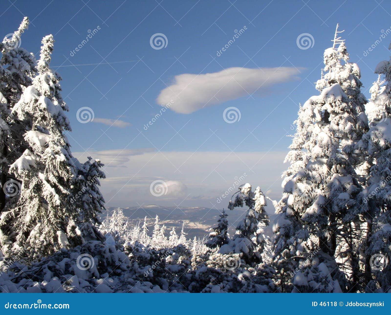Vista delle montagne di Izerskie