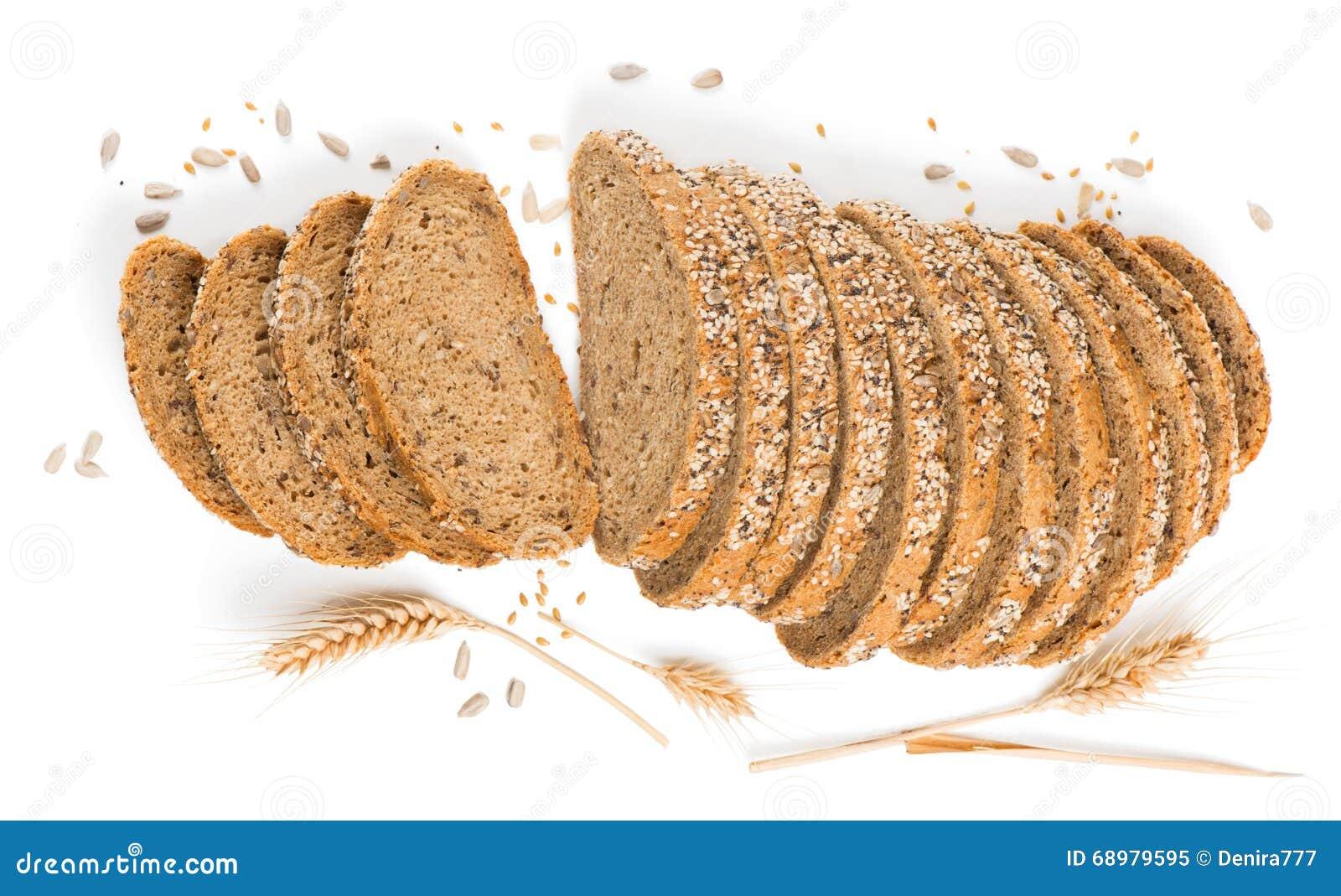 Vista desde arriba del pan con los cereales