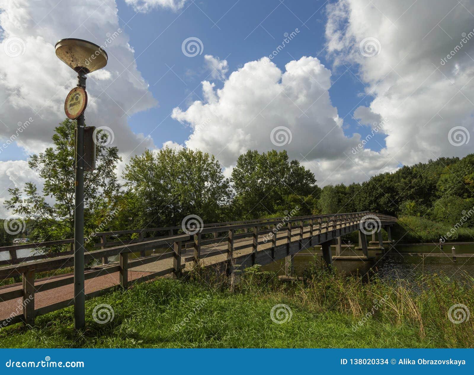 Vista di bei ponte, case e canale un giorno di estate nuvoloso nella città olandese di Vlaardingen