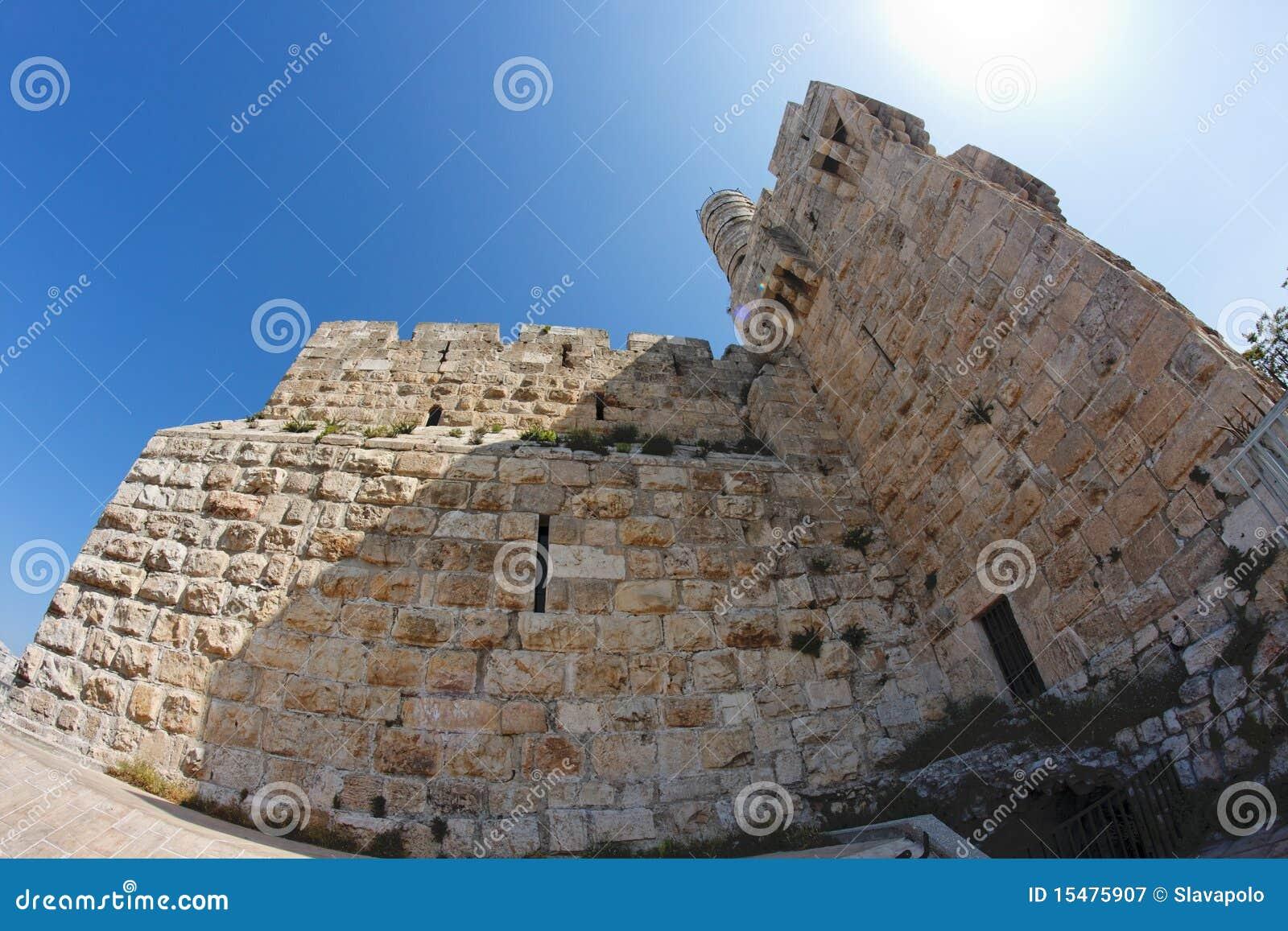 Vista di Fisheye di una cittadella antica a Gerusalemme