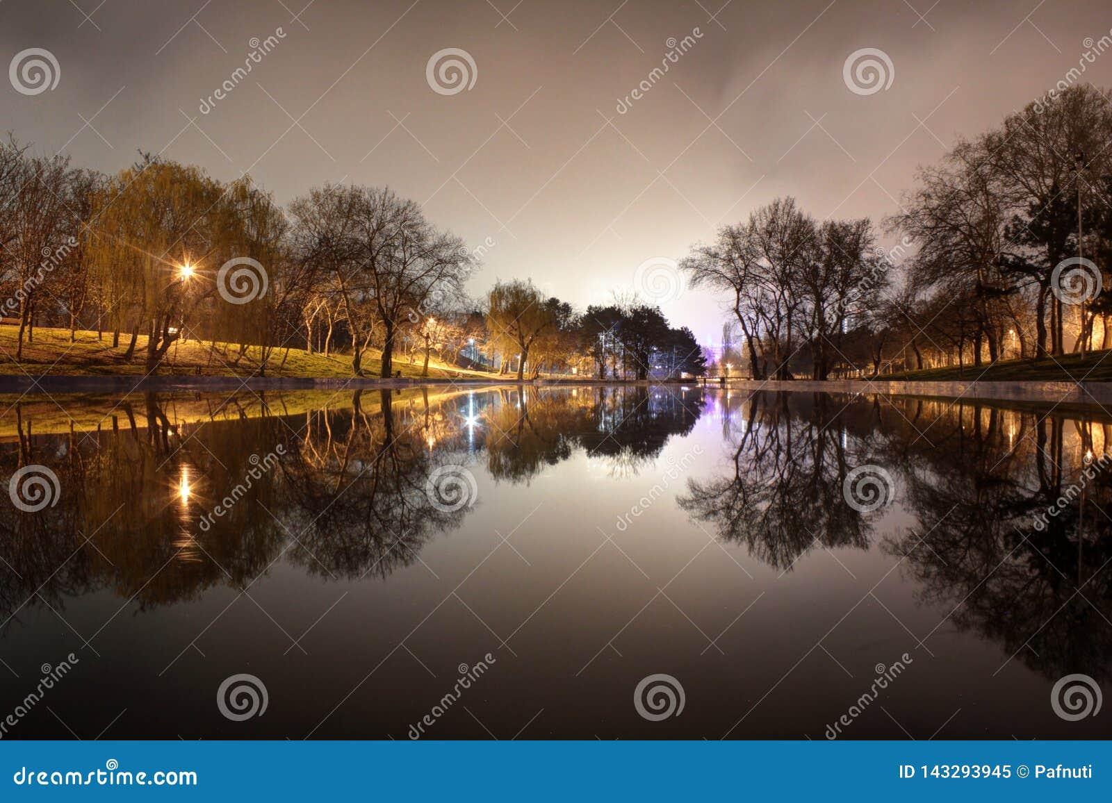 Vista di notte del parco e del lago