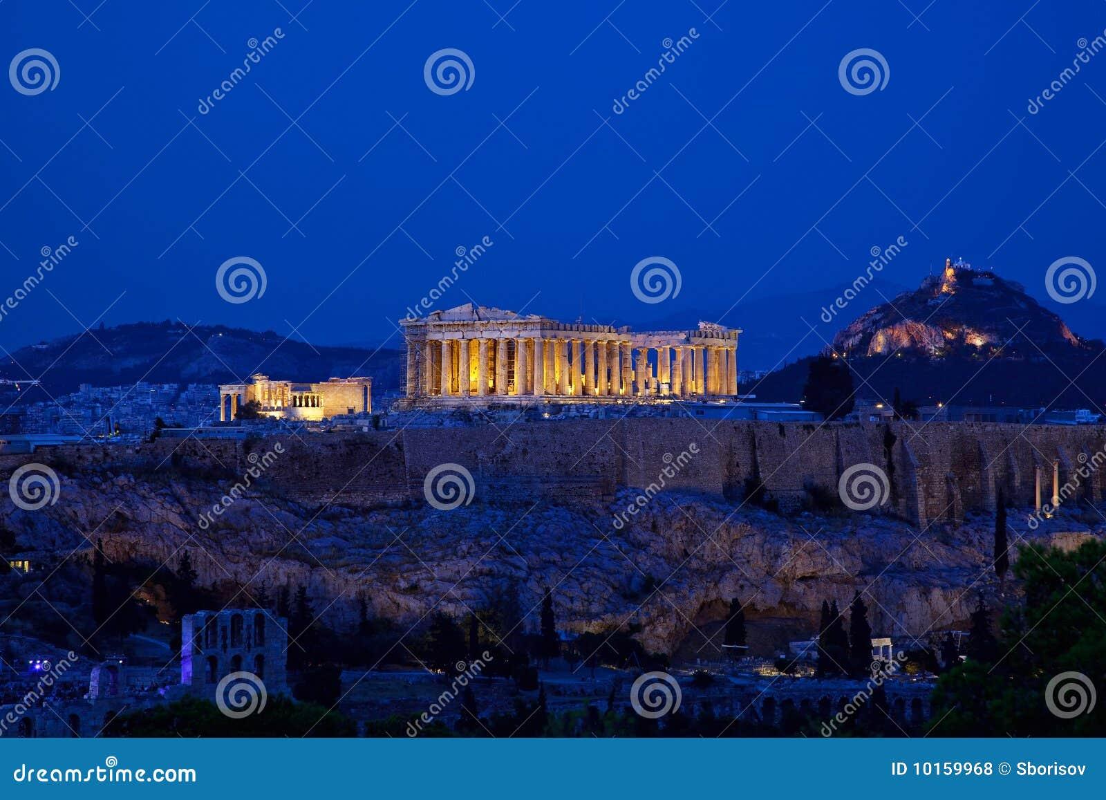 Vista di notte dell acropoli, Atene