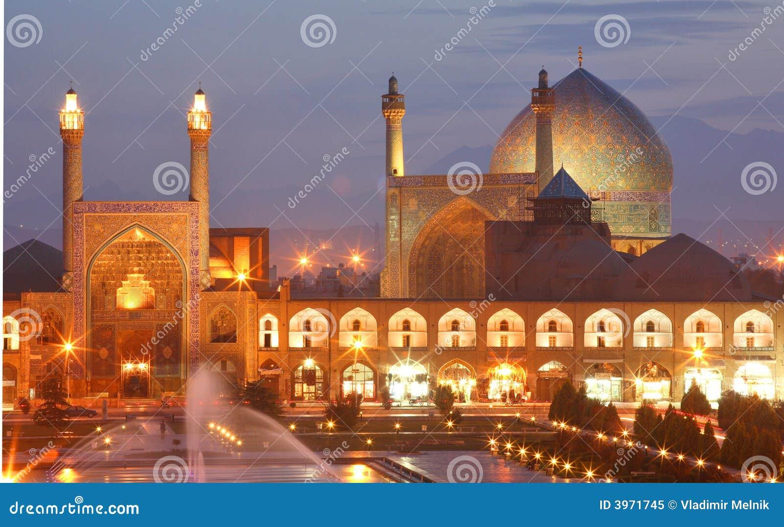 Vista di notte di Esfahan, Iran