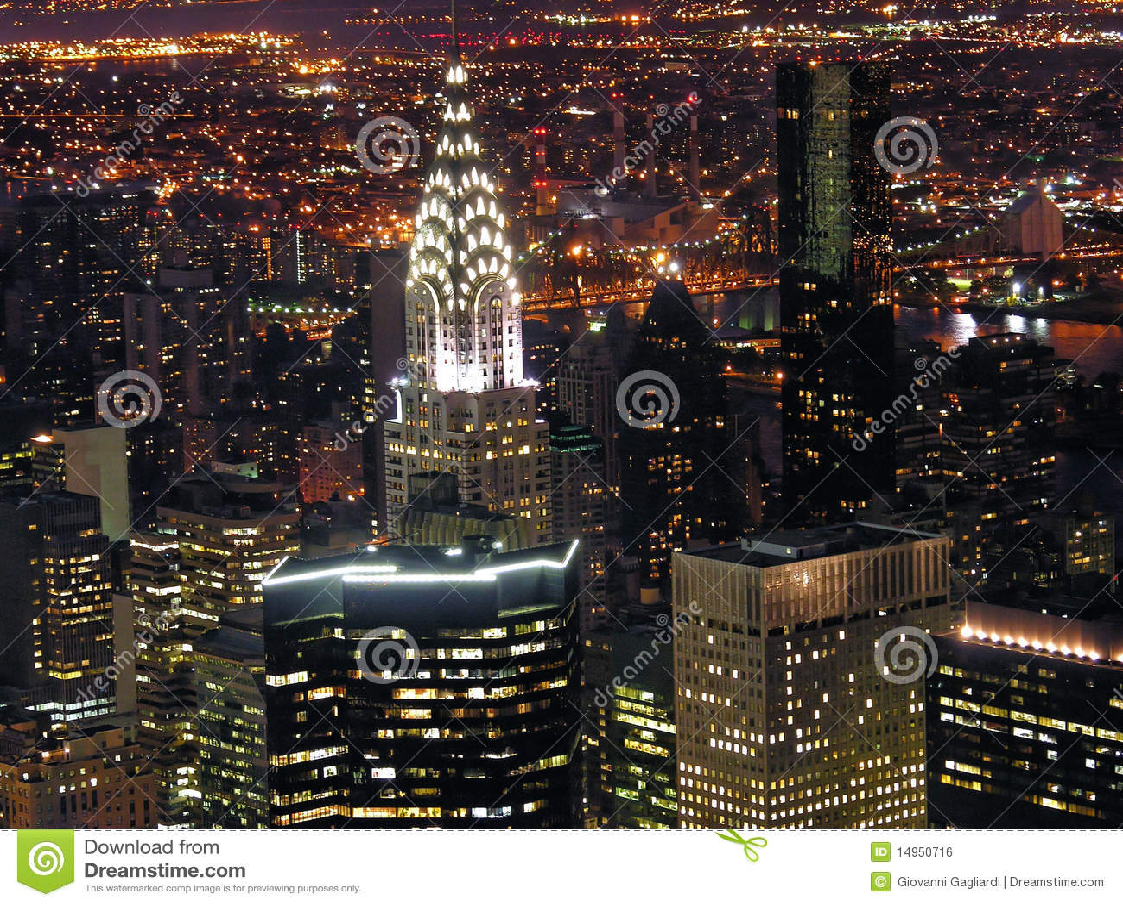 Vista di notte di new york city fotografia stock for Foto new york notte