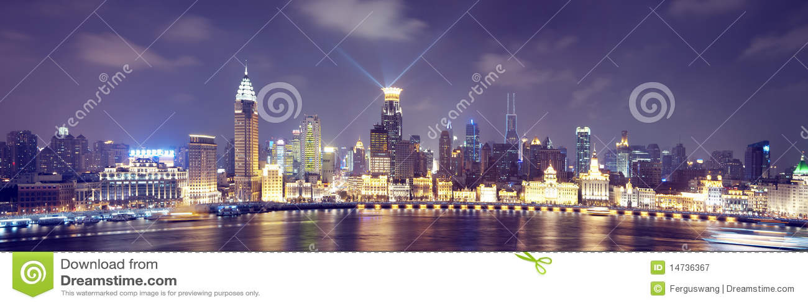 Vista di notte di Schang-Hai Cina