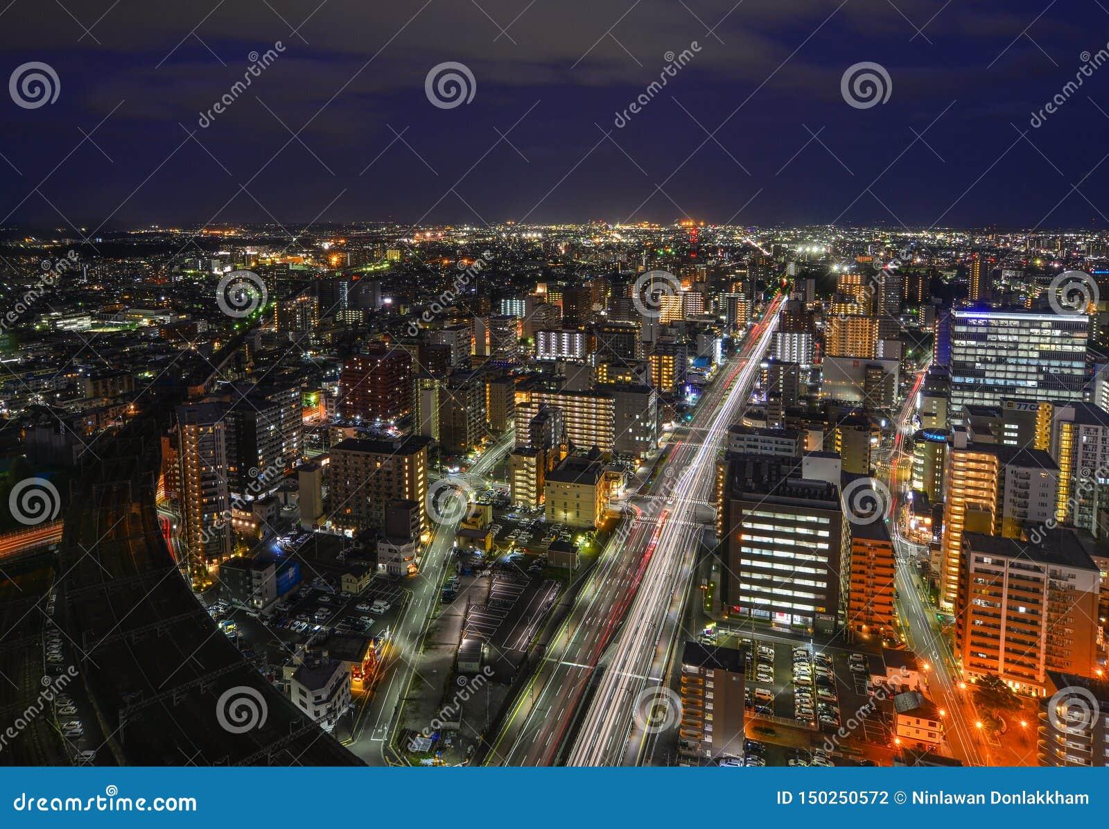 Vista di notte di Sendai, Giappone