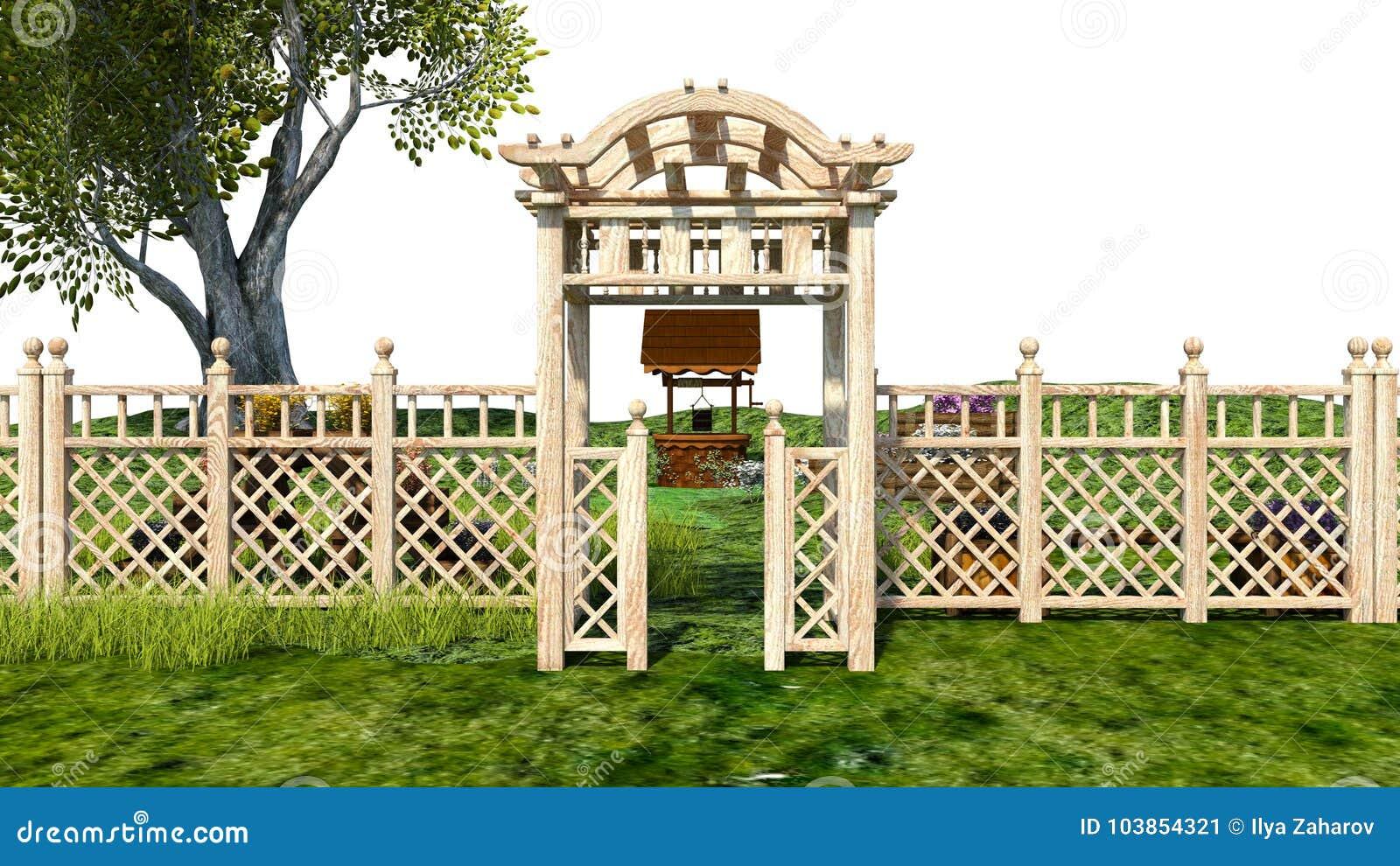 Piante Per Recinzioni Giardino.Vista Di Piccolo Giardino Con Il Portone Di Legno E Le Piante