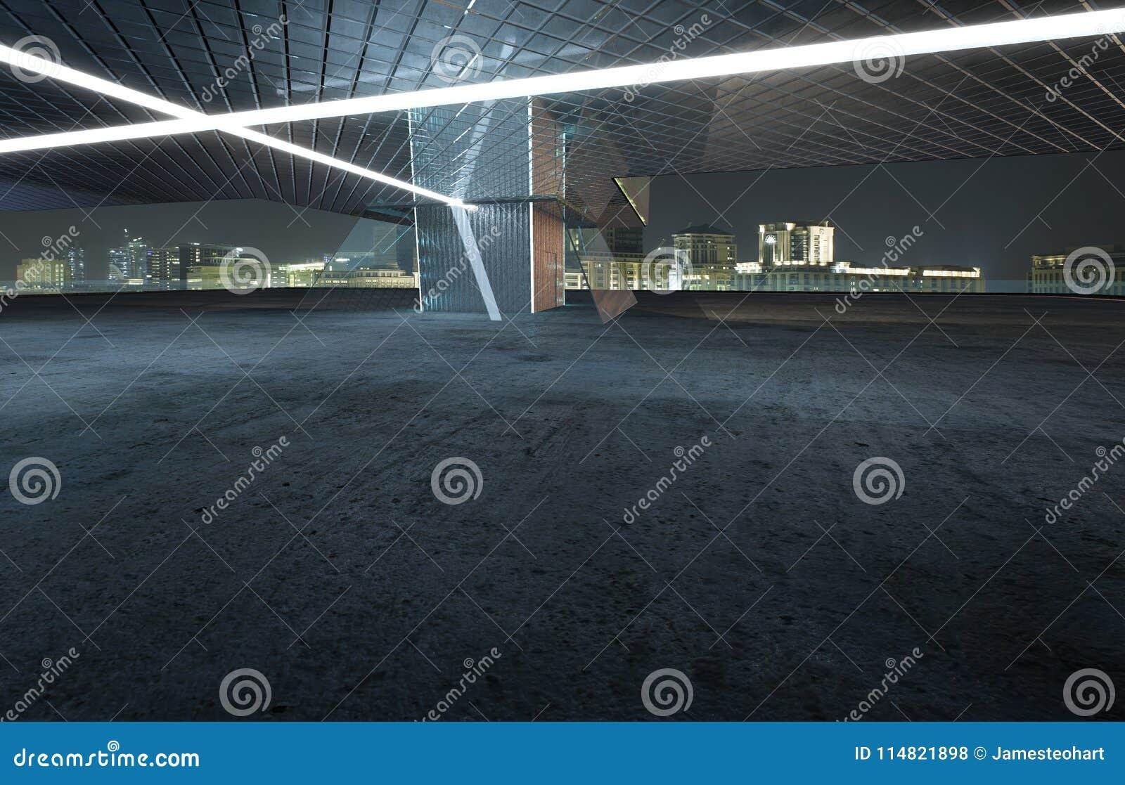 Vista di prospettiva del pavimento vuoto del cemento con esterno di costruzione moderno di vetro e dell acciaio
