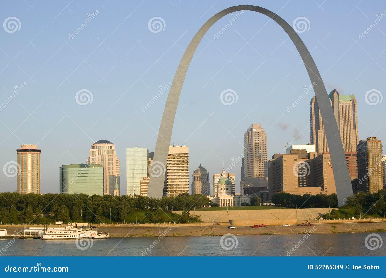 Vista diurna del arco de la entrada (entrada al oeste) y horizonte de St. Louis, Missouri en la salida del sol de St. Louis del e