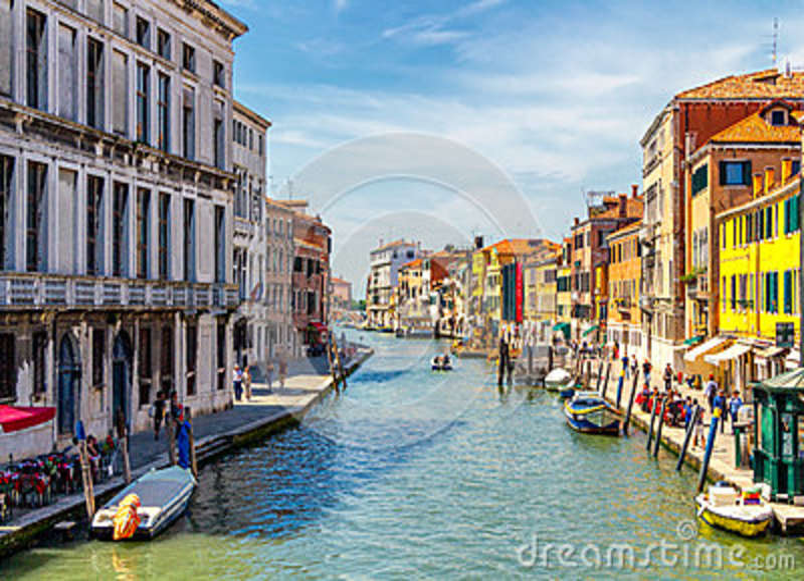 Vista do canal com barcos e gôndola em Veneza, Itália Veni