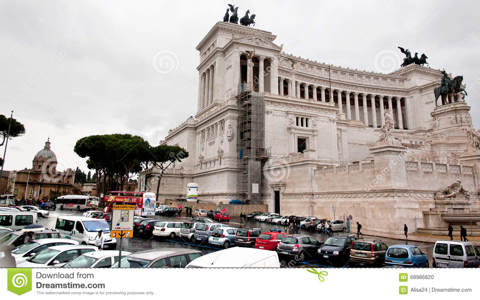 Vista do della Patria de Altare em Roma, Itália