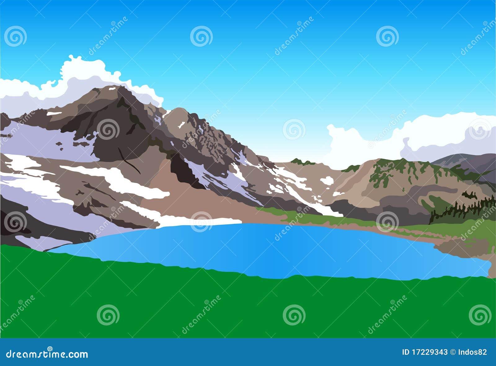 Vista do lago da montanha