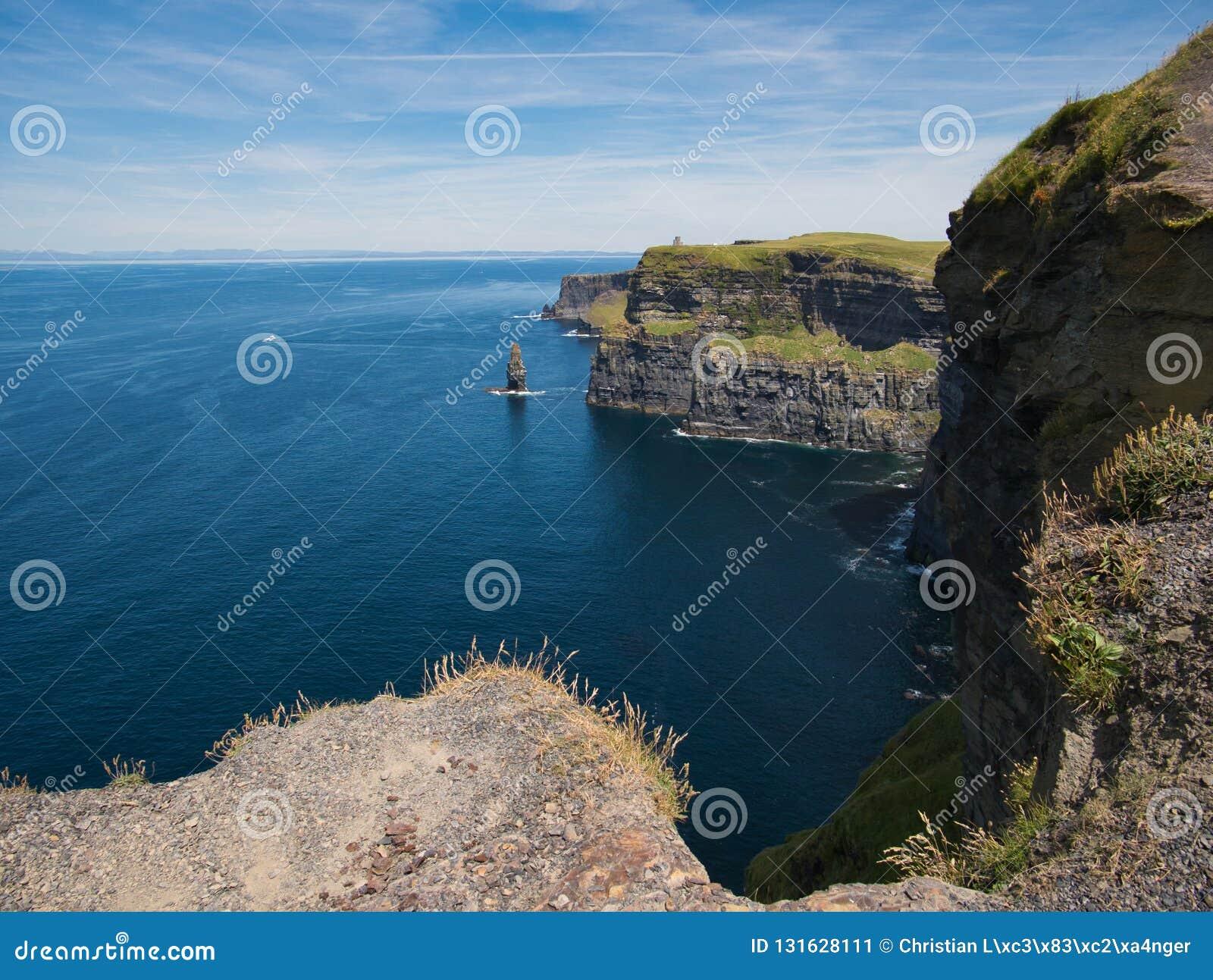 Vista do Oceano Atlântico nos penhascos de Moher