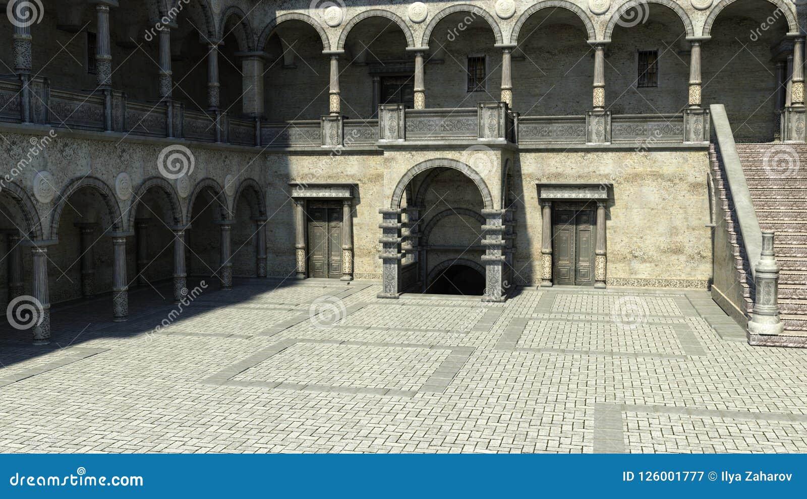 Vista do pátio na entrada ao castelo