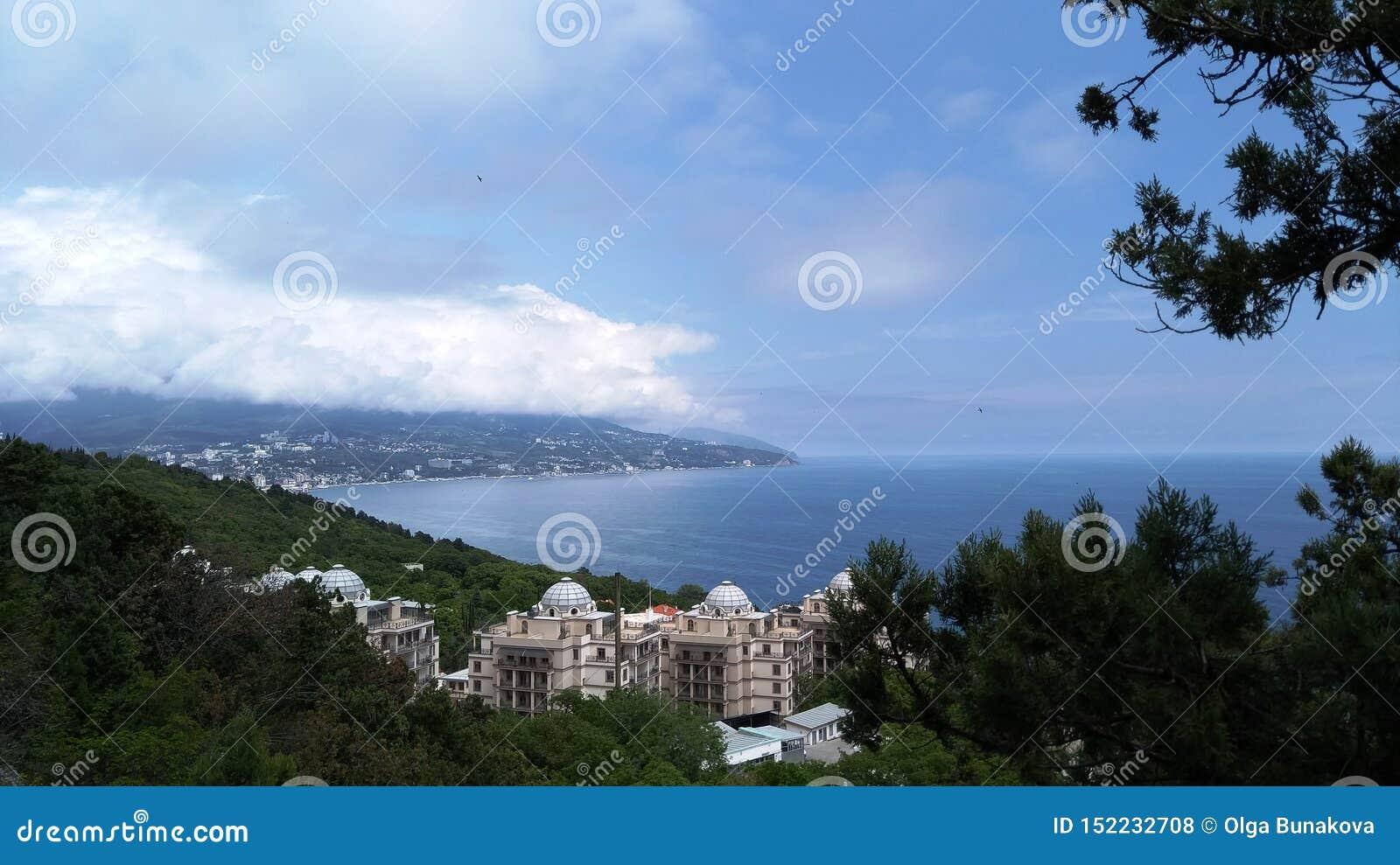 Vista do seacoast em Crimeia