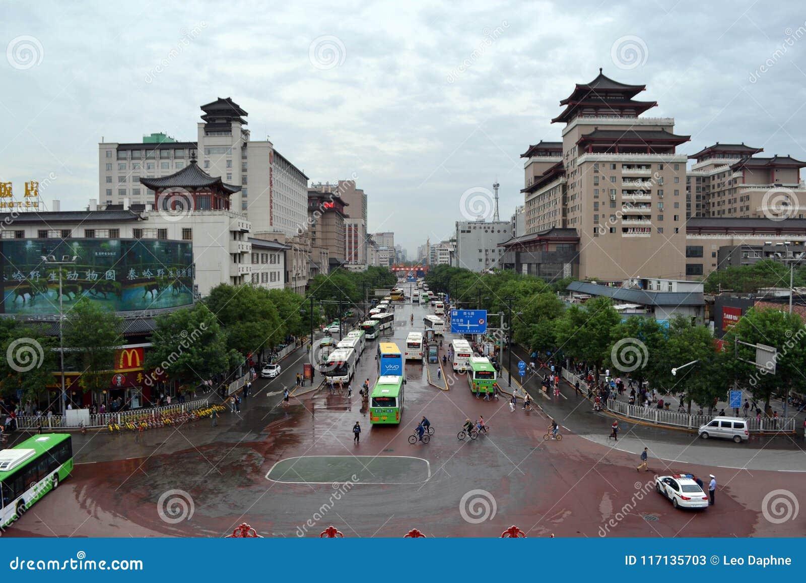 A vista em torno Xi do ` uma parede da cidade durante o dia nebuloso O PIC foi tomado