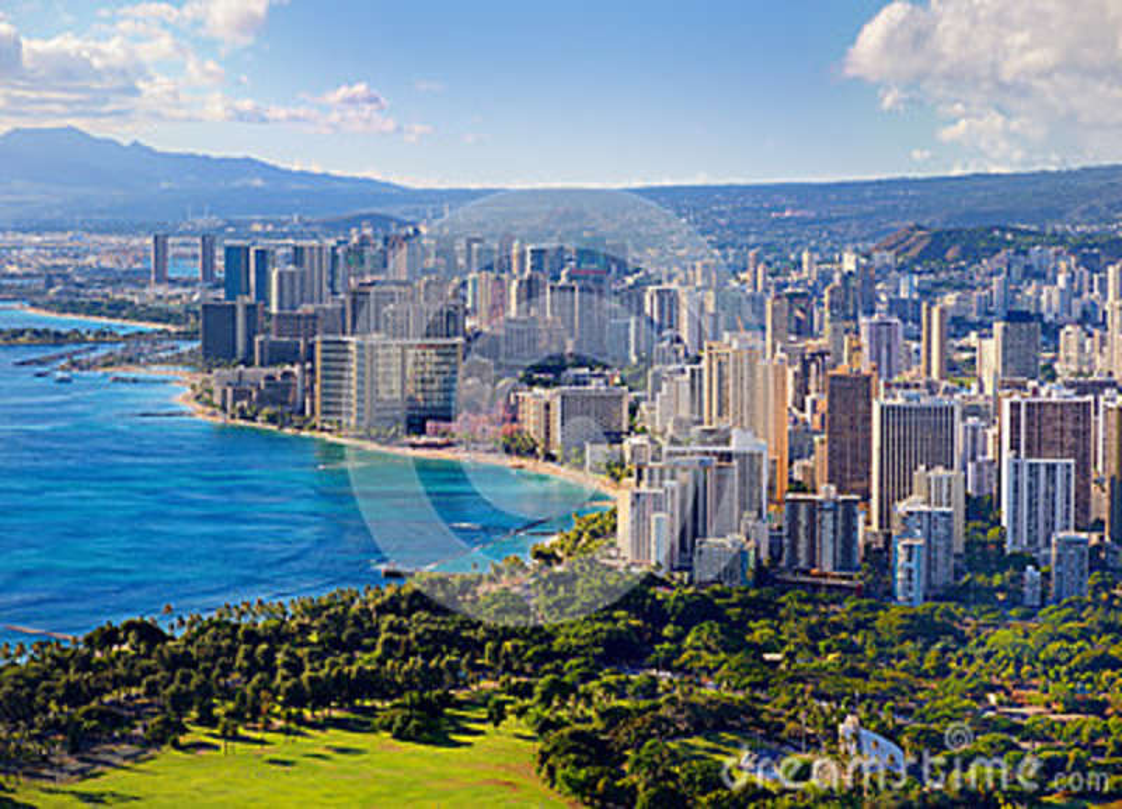 Vista espectacular de la ciudad de Honolulu, Oahu