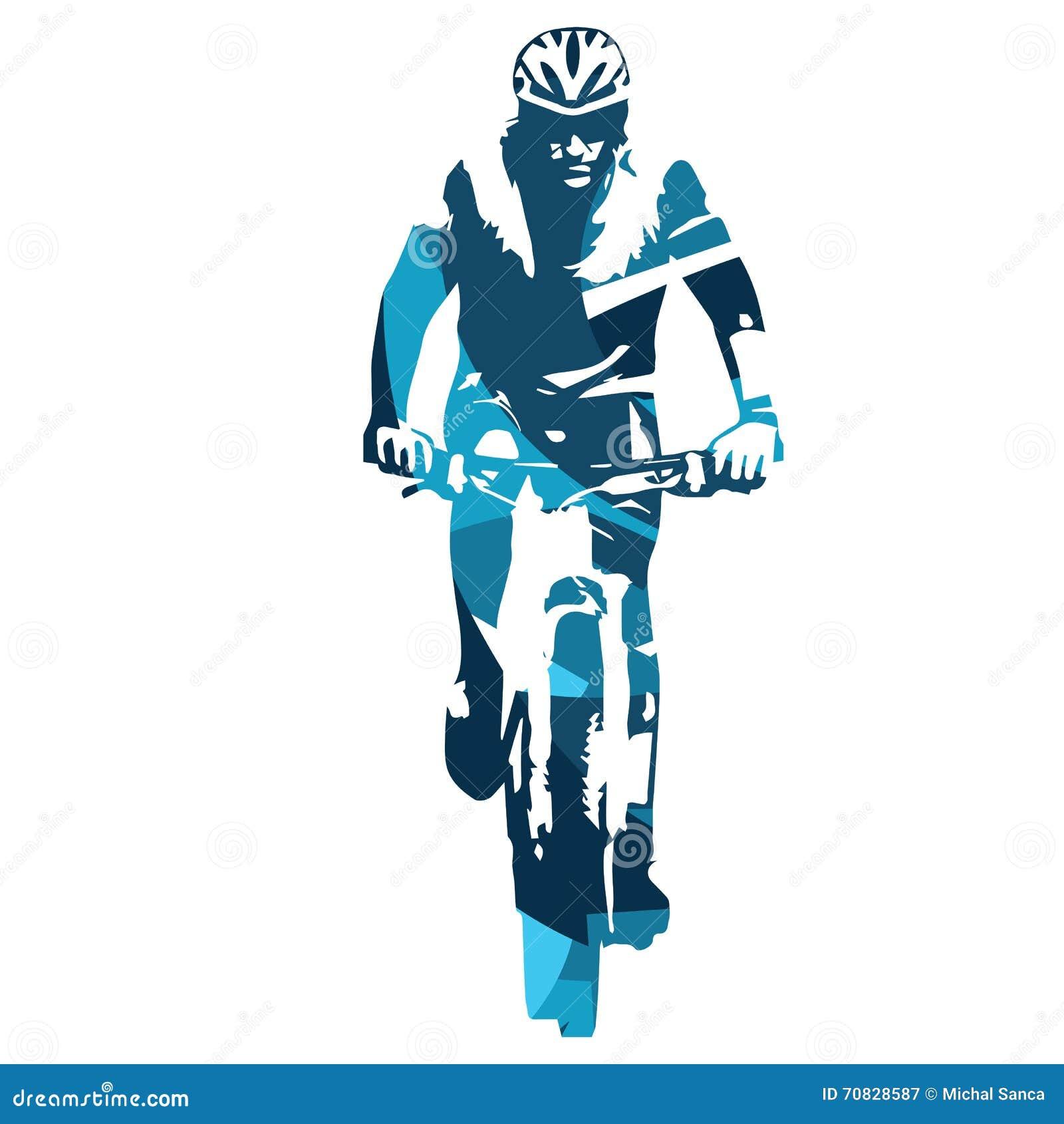 Favorito Vista Frontale Del Ciclista In Mountain-bike Illustrazione  SO83