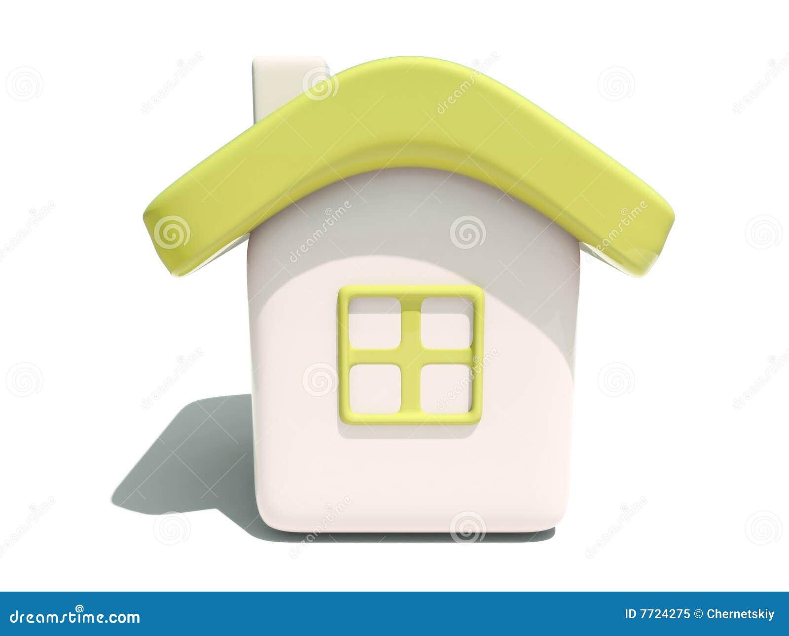 Vista frontale della casa gialla semplice 3d illustrazione for Disposizione della casa 3d