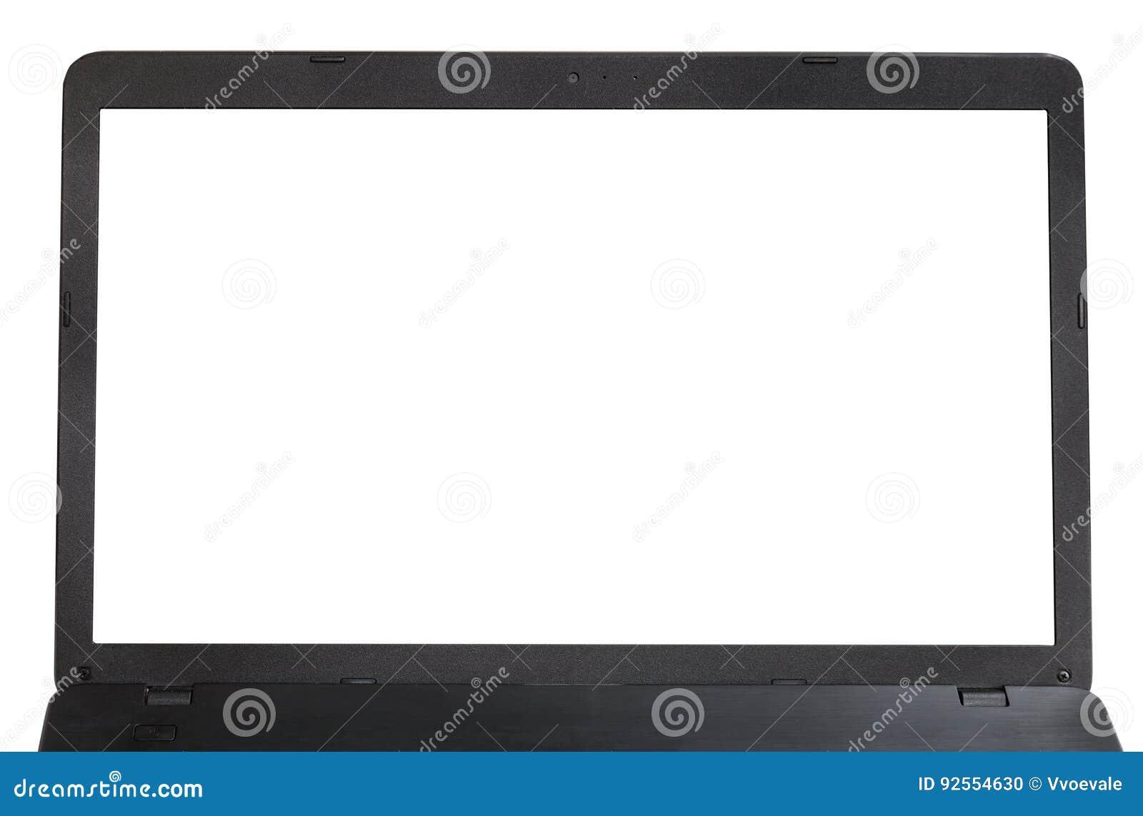 Vista frontale dello schermo tagliato del computer portatile isolato