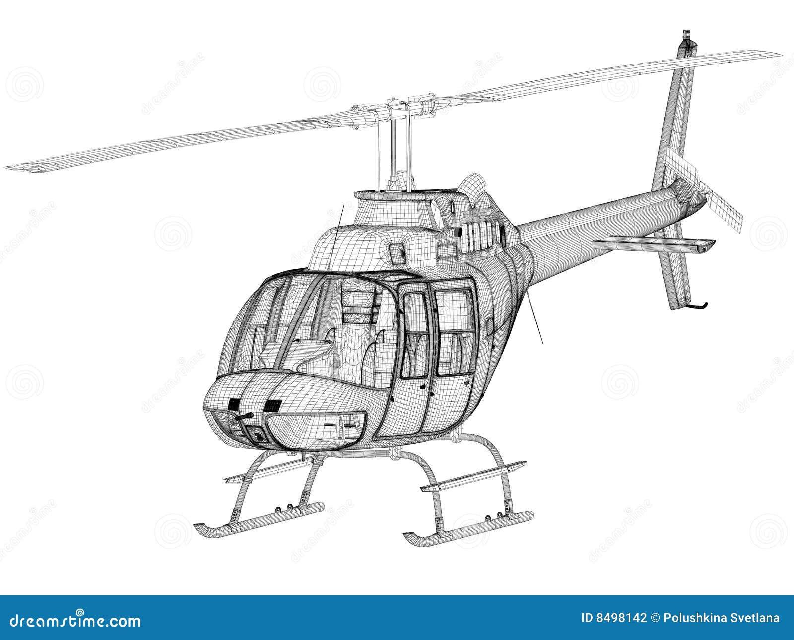 Elicottero 3d Model : Vista frontale di modello dell elicottero d illustrazione di