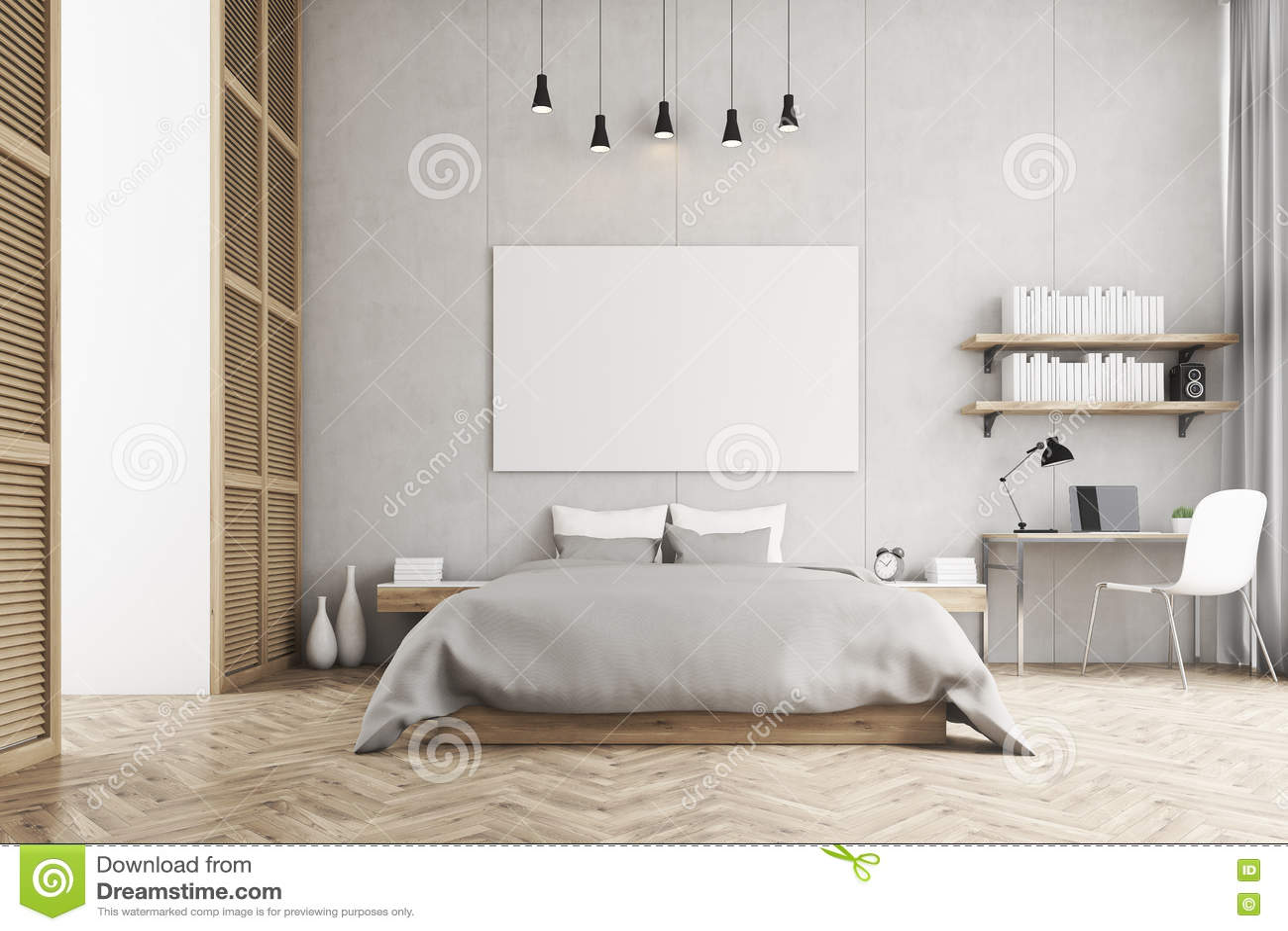 Vista frontale di un letto a due piazze e un angolo di studio in una camera da letto - Parti di un letto ...