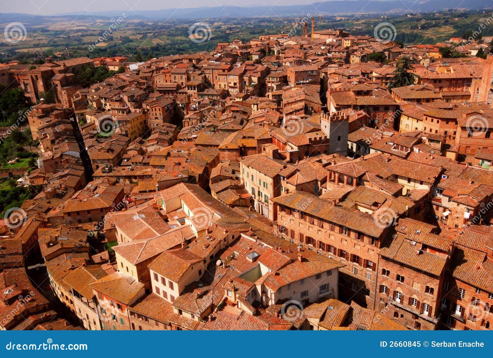Vista geral de Siena Italy