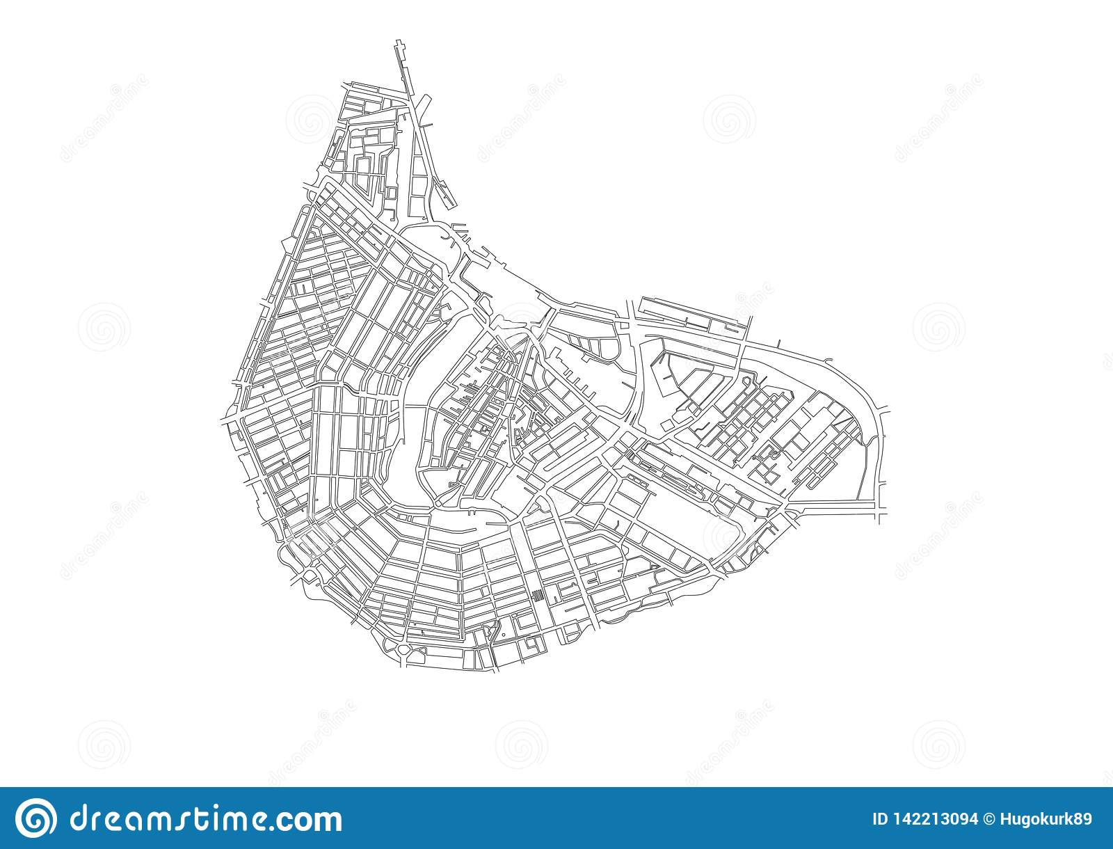 Vista geral do centro da cidade de Amsterdão
