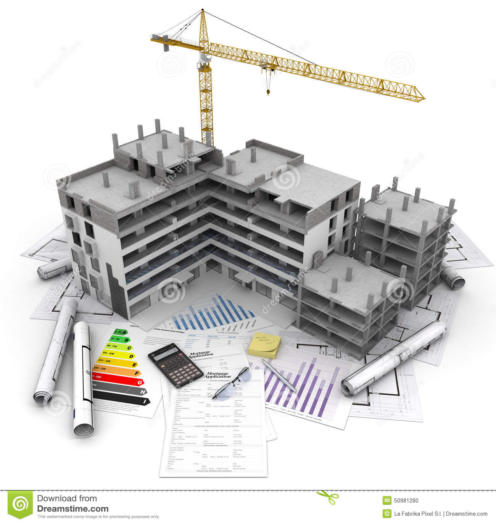 Vista geral do projeto de construção