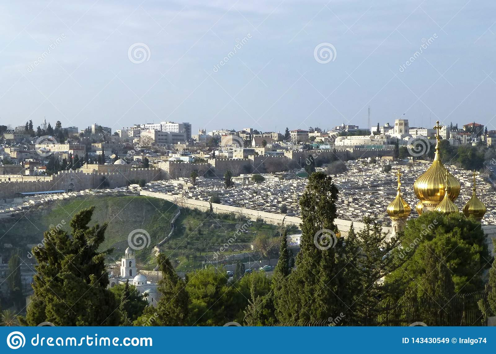 Vista impressionante do Jerusalém do Monte das Oliveiras, Israel