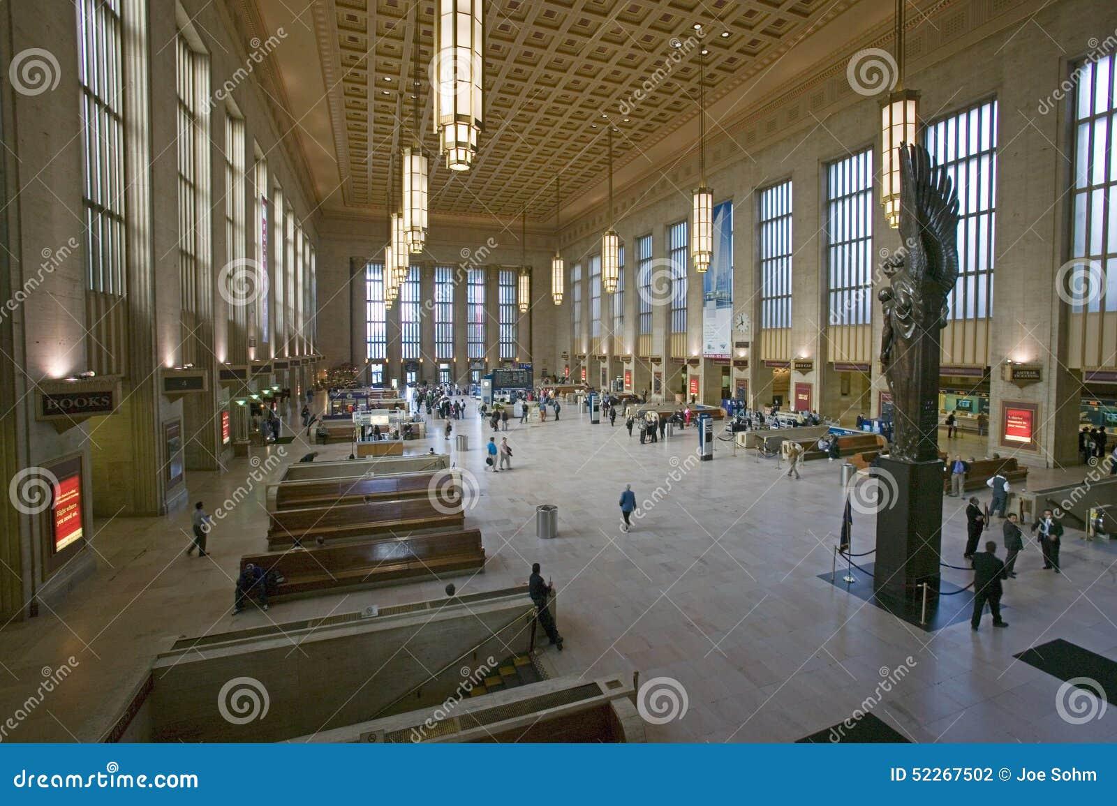 Vista interior de la trigésima estación de la calle, un registro nacional de lugares históricos, estación de tren de AMTRAK en Ph
