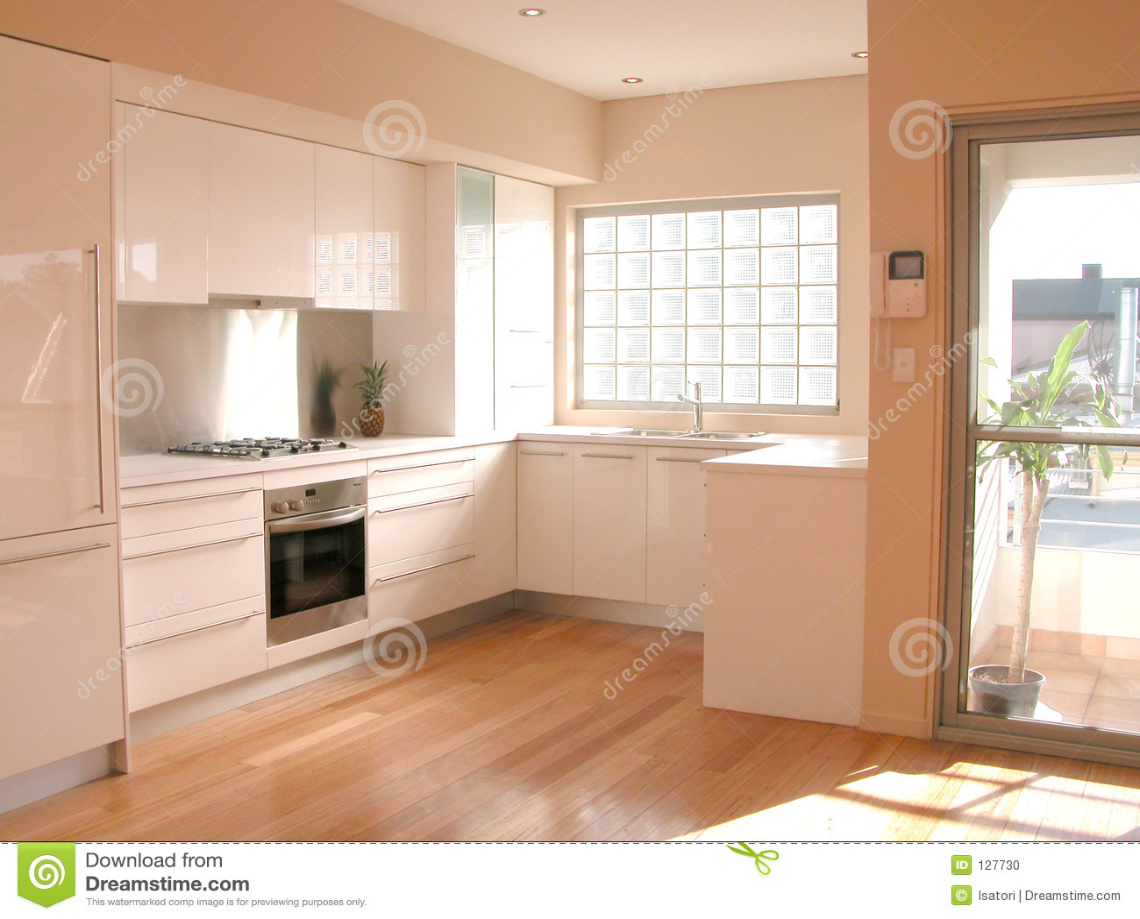 Vista interior de una cocina foto de archivo imagen de for Vistas de cocinas