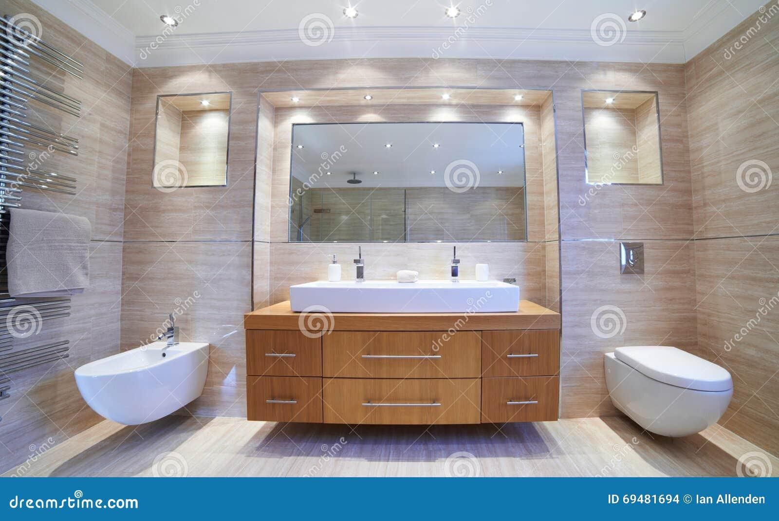 Vista interna di bello bagno di lusso