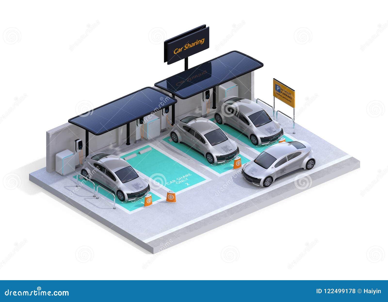 Vista isométrica del estacionamiento equipada de la estación de carga, el panel solar Negocio de la distribución de coche