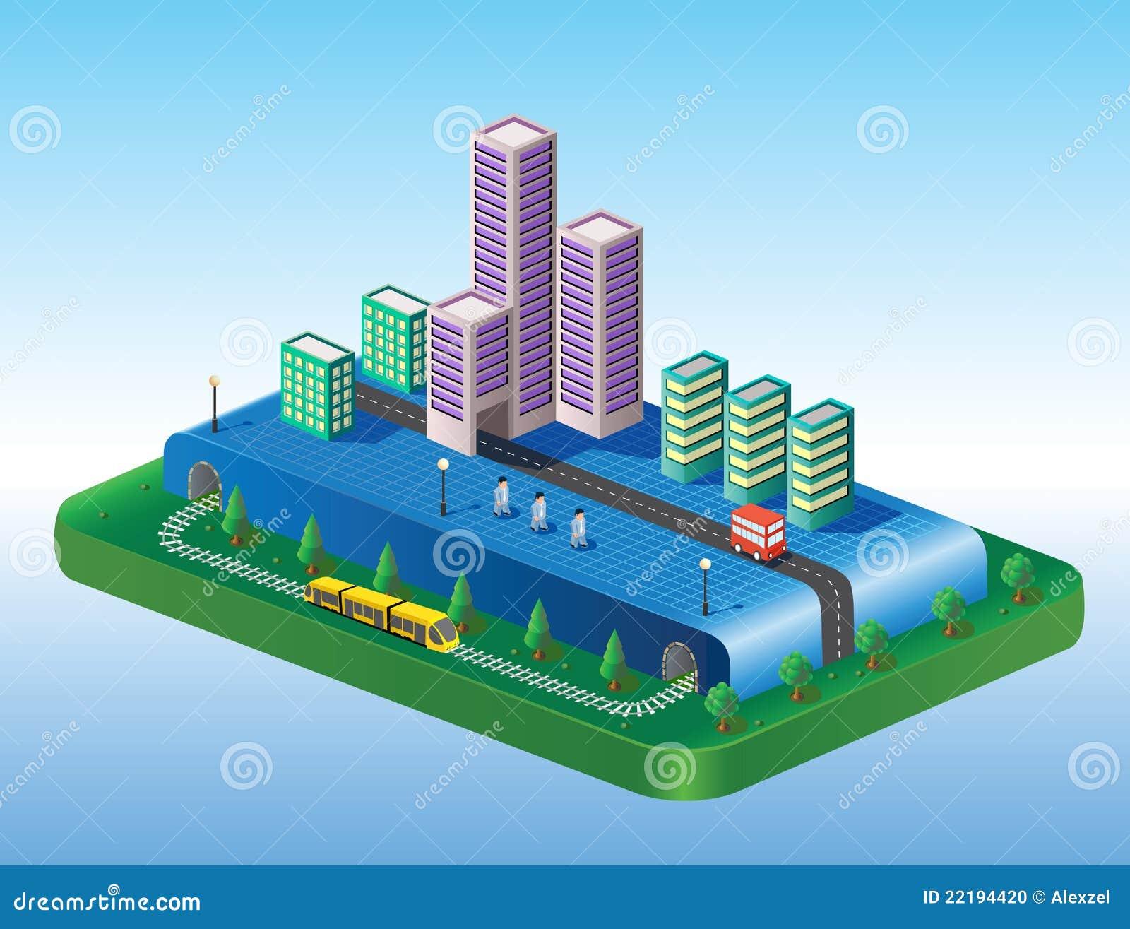 Vista isometrica della città
