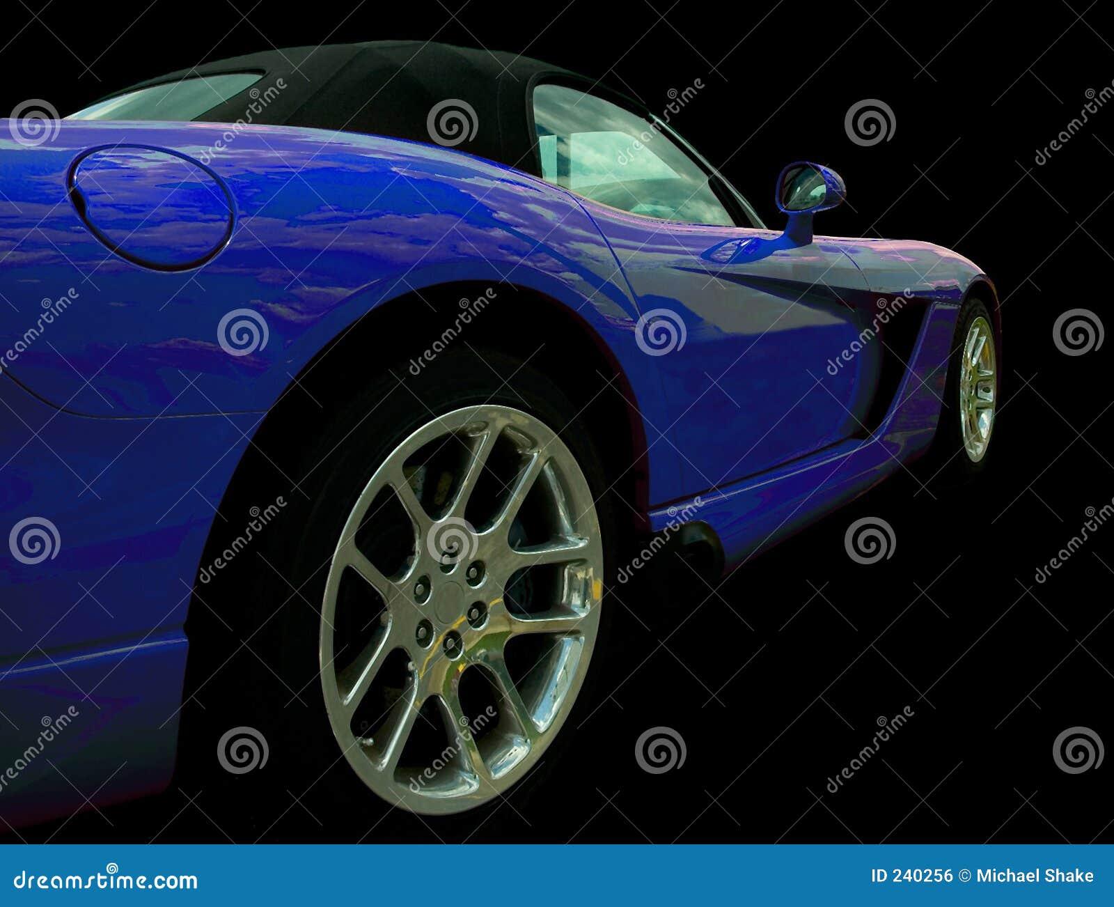 Vista lateral azul del coche de deportes