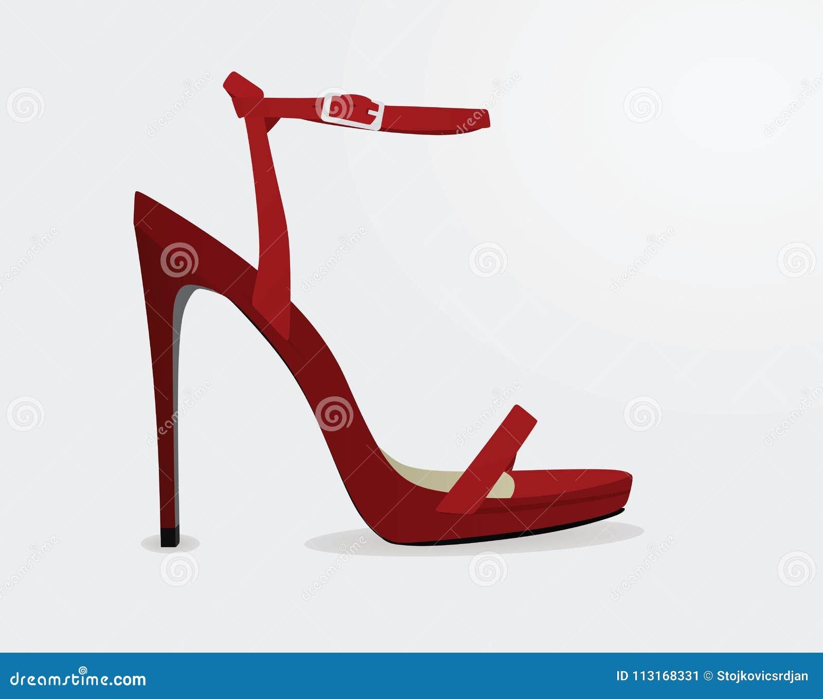 Vista lateral de la sandalia roja