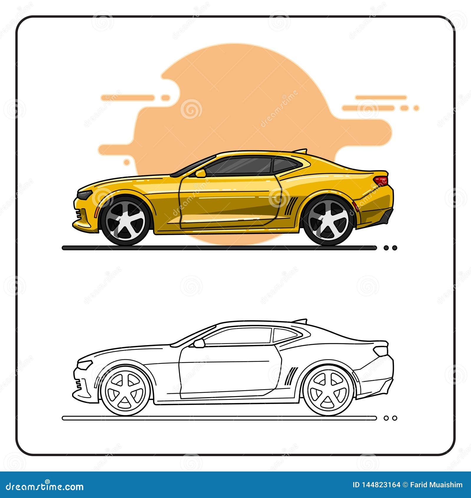 Vista lateral de los coches estupendos amarillos