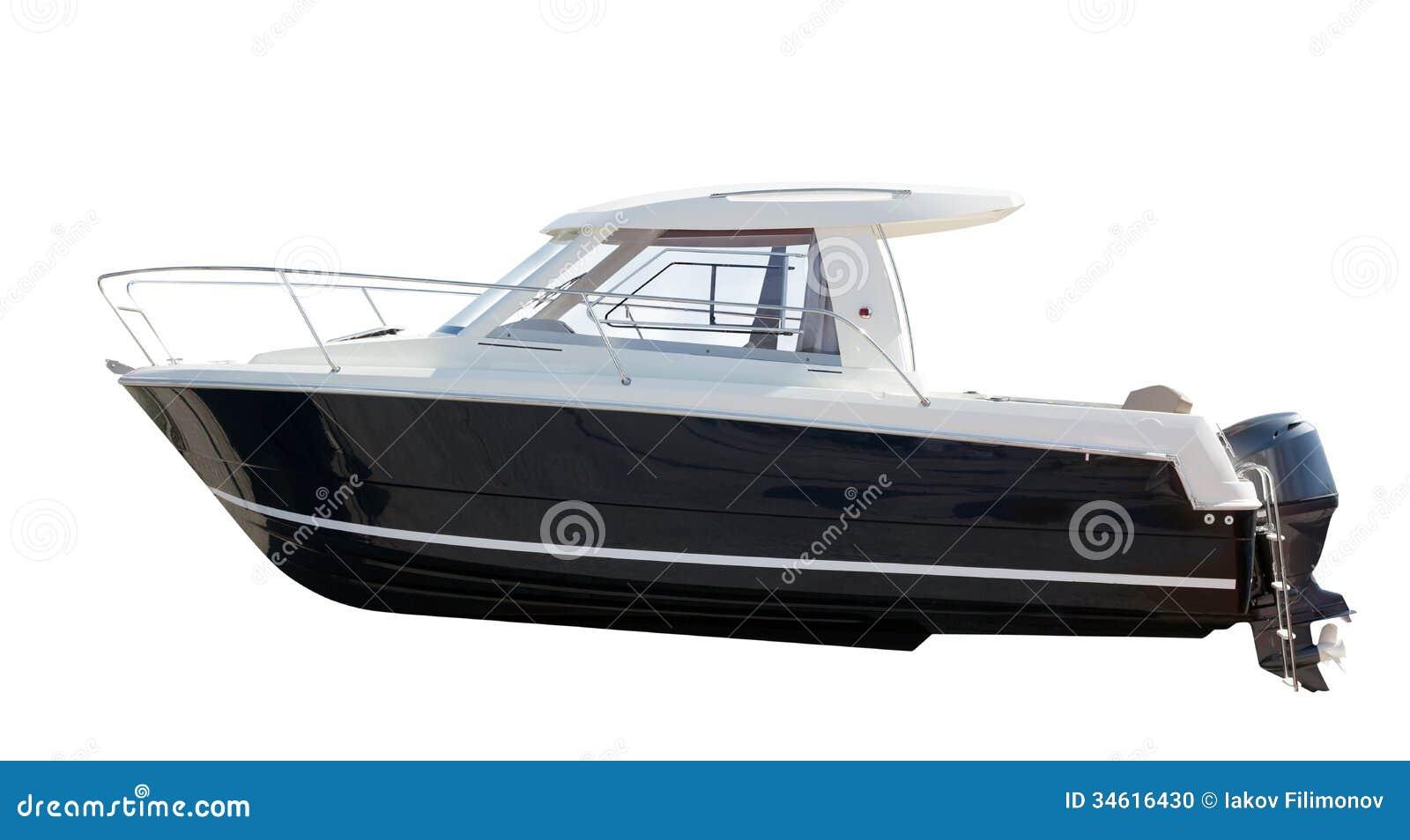 Vista lateral del barco de motor. Aislado sobre blanco