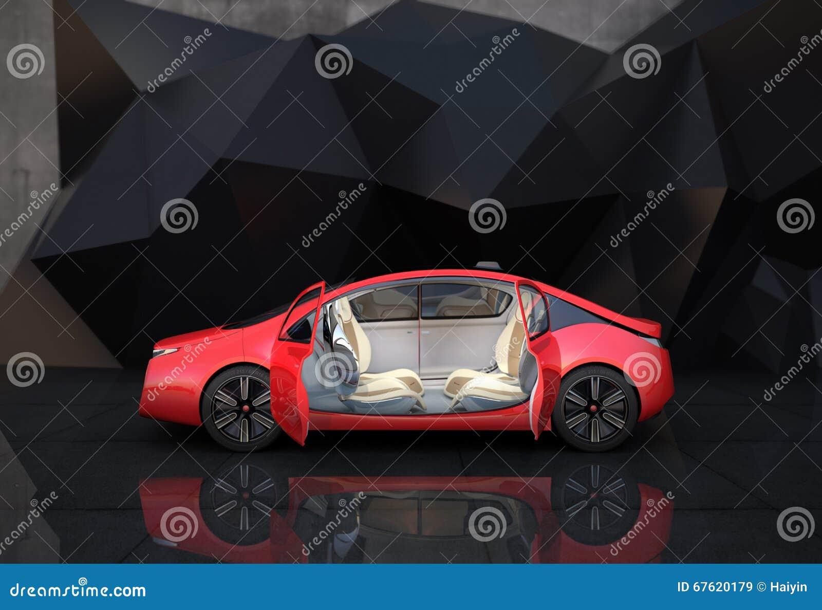 Vista lateral do carro autônomo vermelho na frente do fundo geométrico do objeto