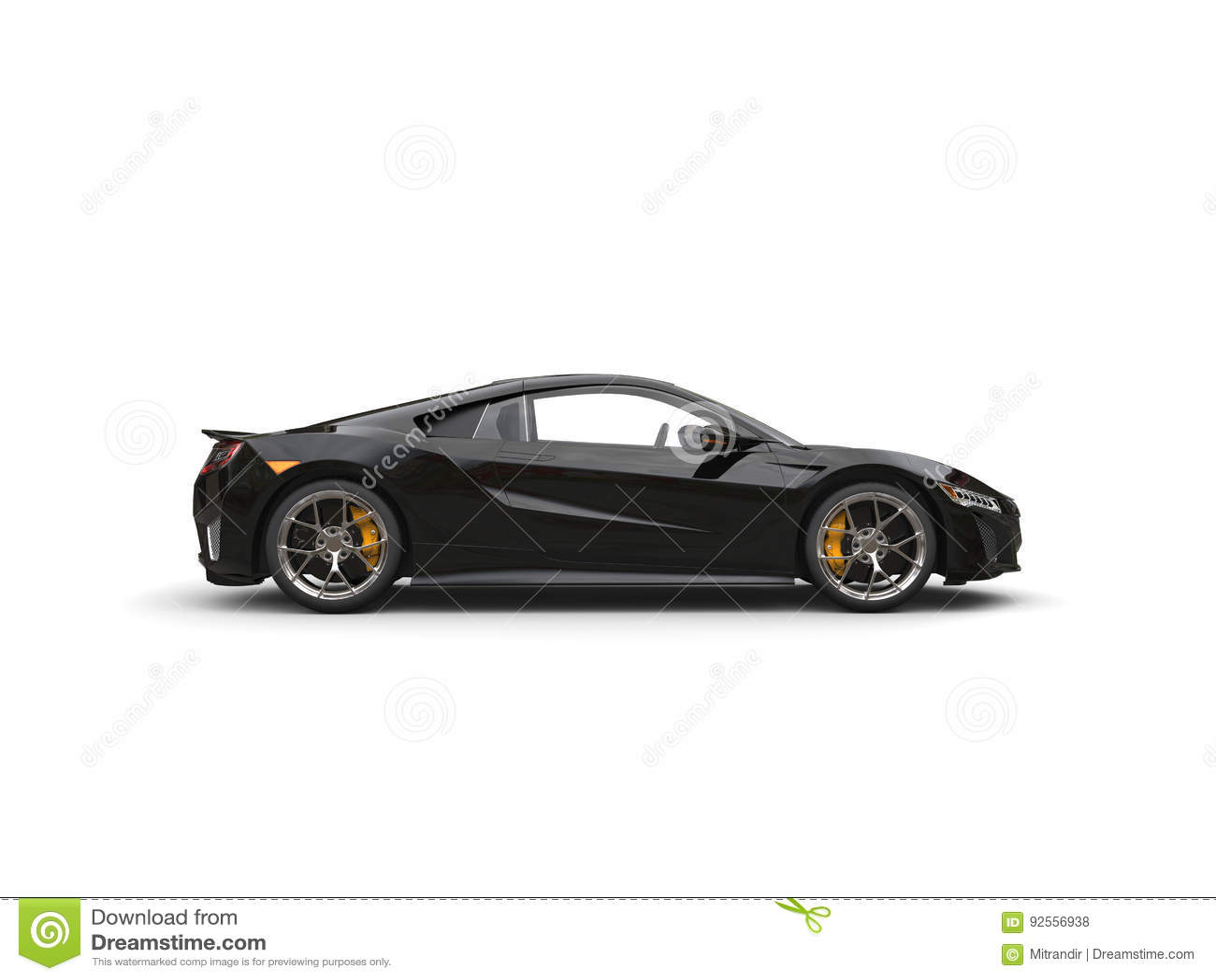 Vista laterale automobilistica di sport eccellenti moderni neri lucidi