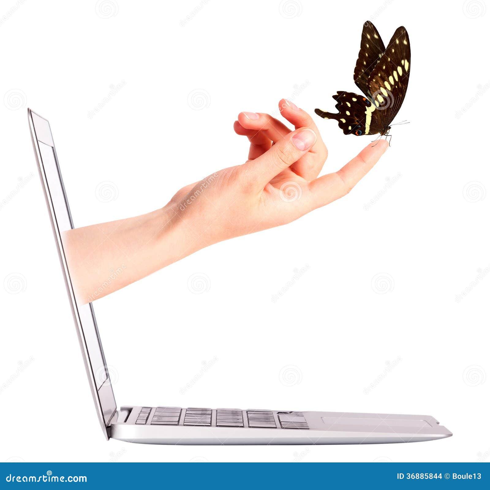 Download Vista Laterale Del Computer Portatile Con La Farfalla A Disposizione Fotografia Stock - Immagine di concetto, commercio: 36885844