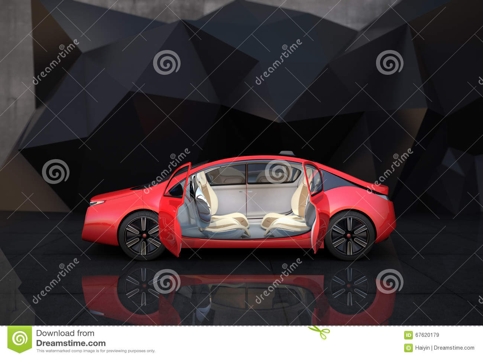 Vista laterale dell automobile autonoma rossa davanti al fondo geometrico dell oggetto