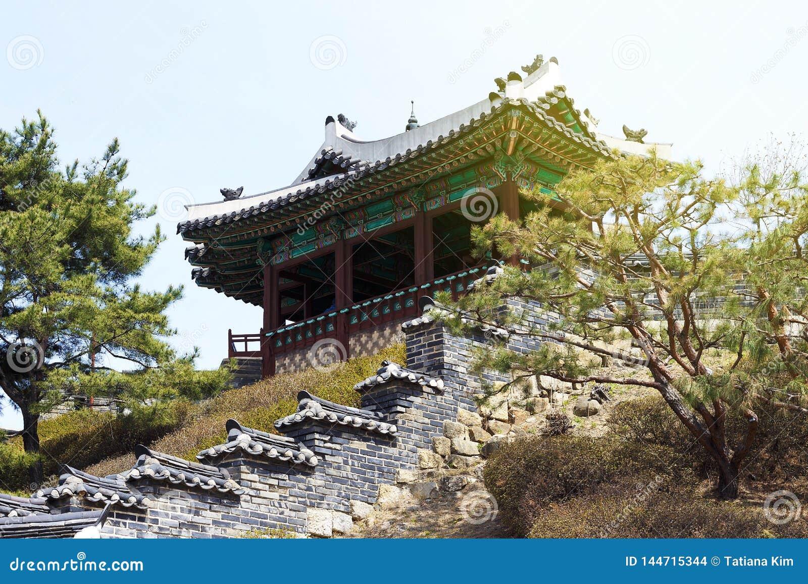 Vista laterale della pagoda coreana antica Città di Suwon, Corea del Sud