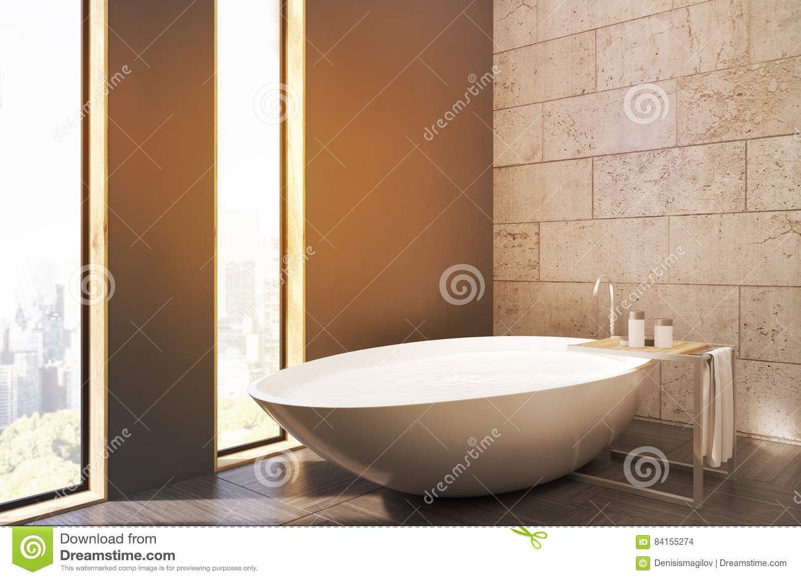 Vasca Da Bagno In Cemento : Vista laterale di un bagno con le finestre strette la vasca bianca
