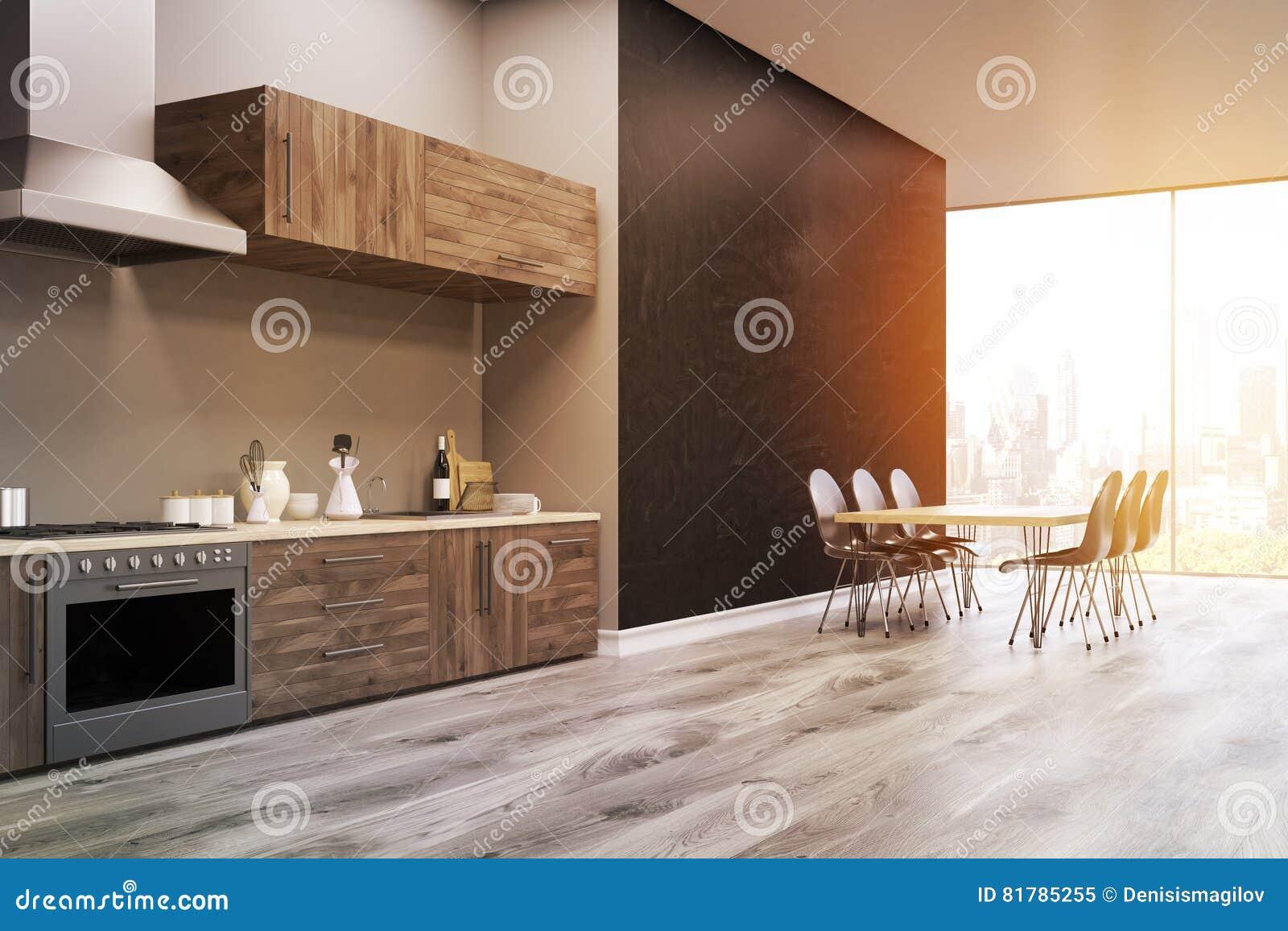Vista laterale di una cucina interna parete nera tonificata