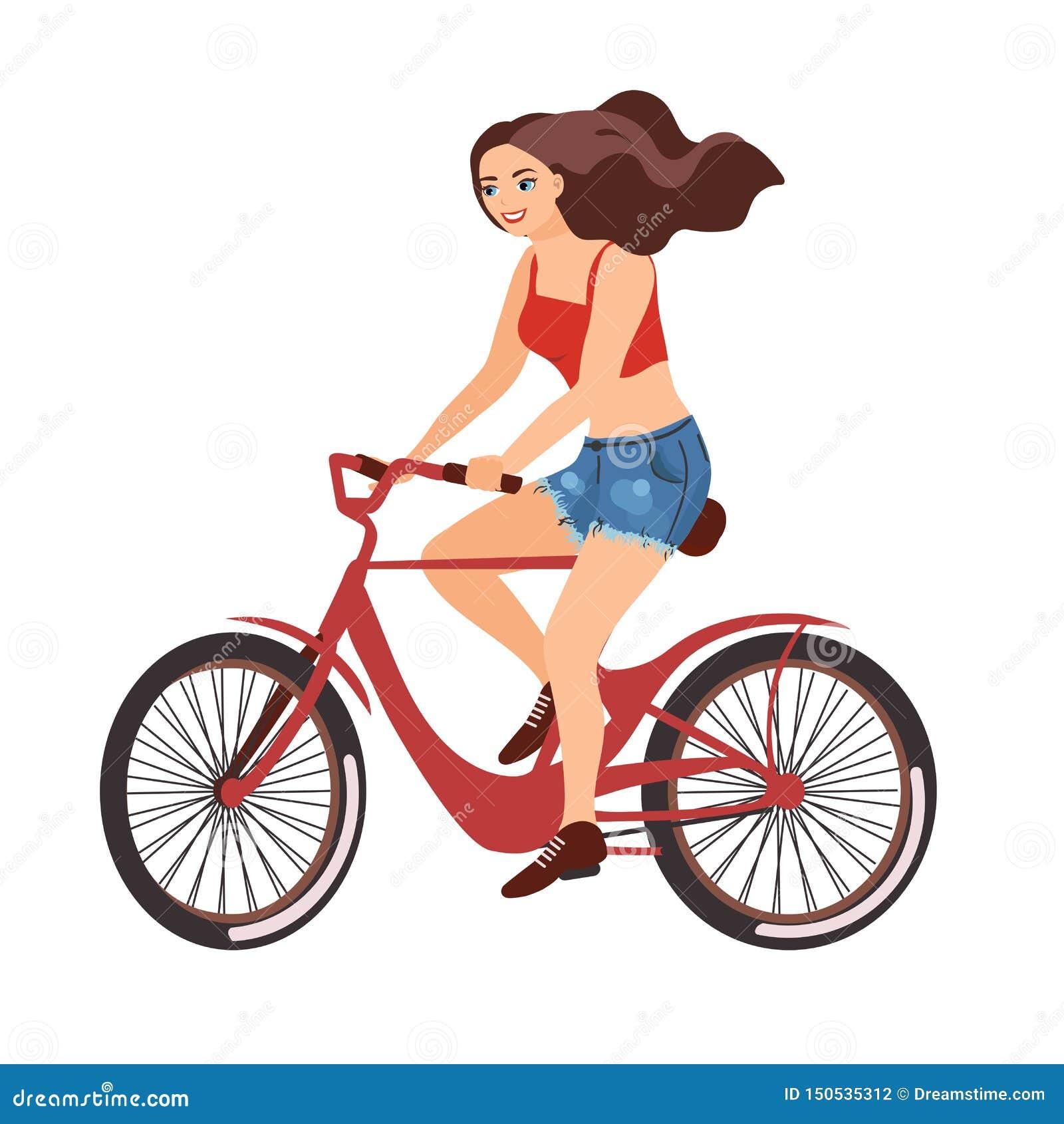 Vista laterale felice di profilo della bicicletta rossa di guida della ragazza Vector l illustrazione di una progettazione piana
