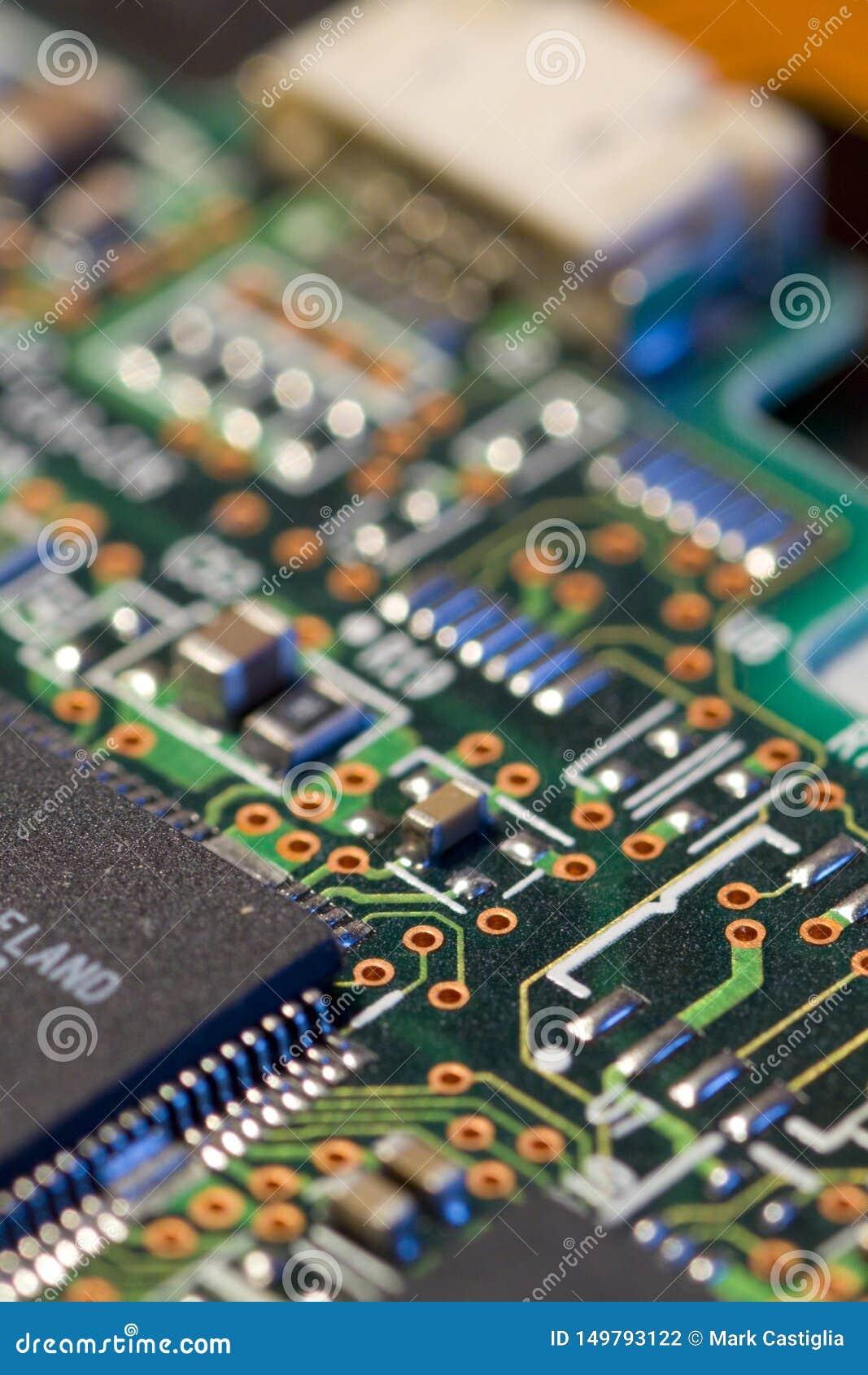 Vista macra de la placa de circuito del ordenador