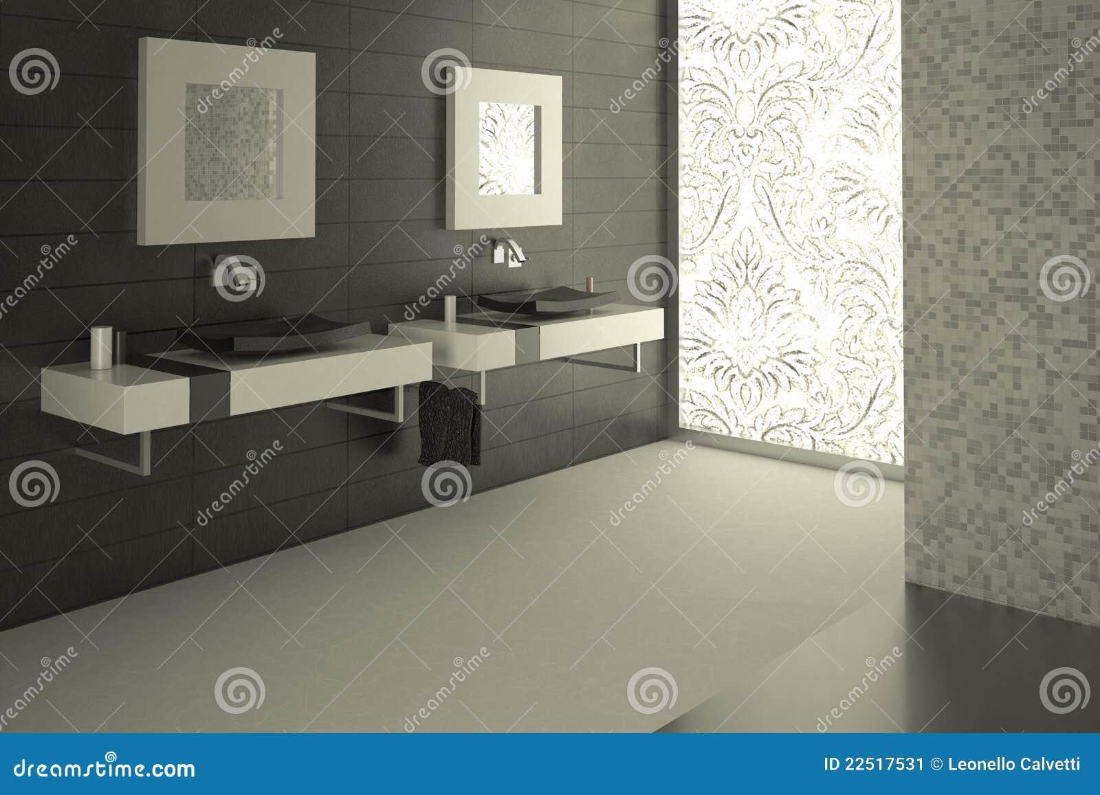 Sala Da Bagno Pianta : Vista moderna della stanza da bagno con un grande vetro decorato