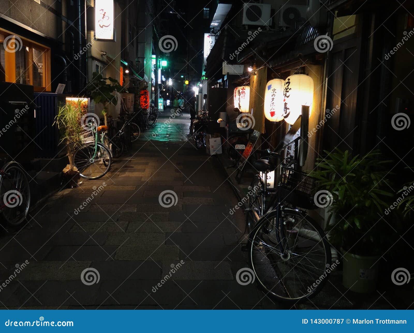 Vista nocturna del área encantadora de Pontocho situada en Kyoto, Japón